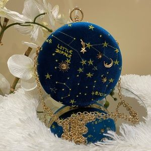 Handbags - Velvet Little Dipper Embroidered Circular Purse